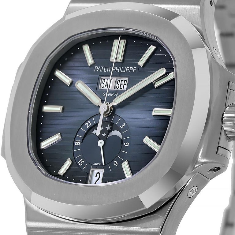 Contemporary Patek Philippe Nautilus Stainless-Steel Annual Calendar Watch 5726/1A-014
