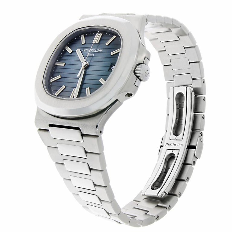 Contemporary Patek Philippe Nautilus Stainless Steel Blue Dial Watch 5711/1A-010 For Sale