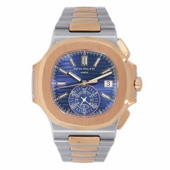 Patek Philippe Nautilus Stainless Steel and Gold Watch Blue Dial 5980/1AR-001