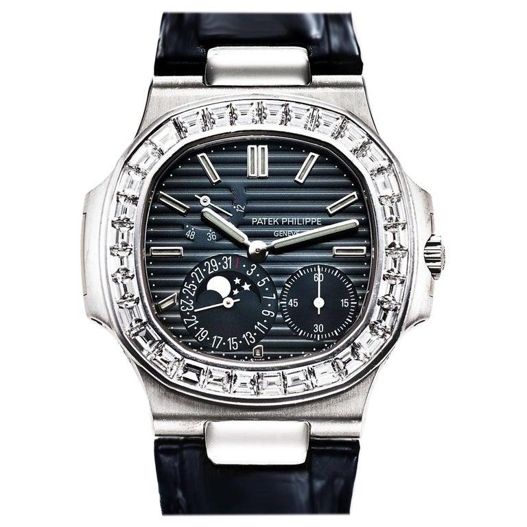 Patek Philippe Nautilus White Gold Diamonds Automatic Watch For Sale