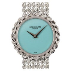 Patek Philippe Onyx Turquoise Dial White Gold Bracelet Manual Wind Watch