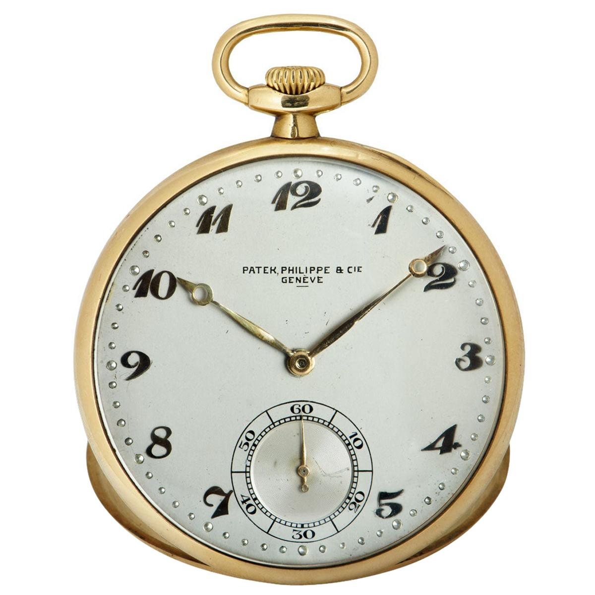 Patek Philippe Open Face Pocket Watch Vintage Gents 18k Yellow Gold Silver Dial