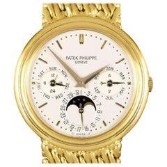 Patek Philippe Perpetual Calendar Yellow Gold Silver Dial 3945/1 Automatic