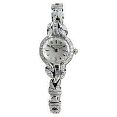 Patek Philippe Platinum and 18 Karat White Gold Ladies Diamond Dress Watch, 1955