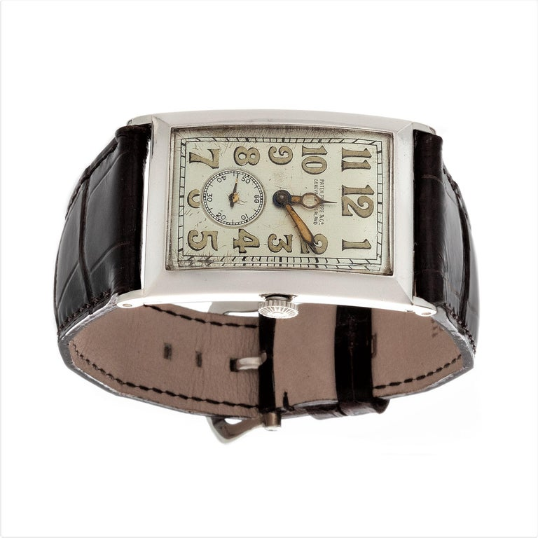Patek Philippe Platinum Curved Hinged Case Art Deco Watch, circa 1927 For Sale 1