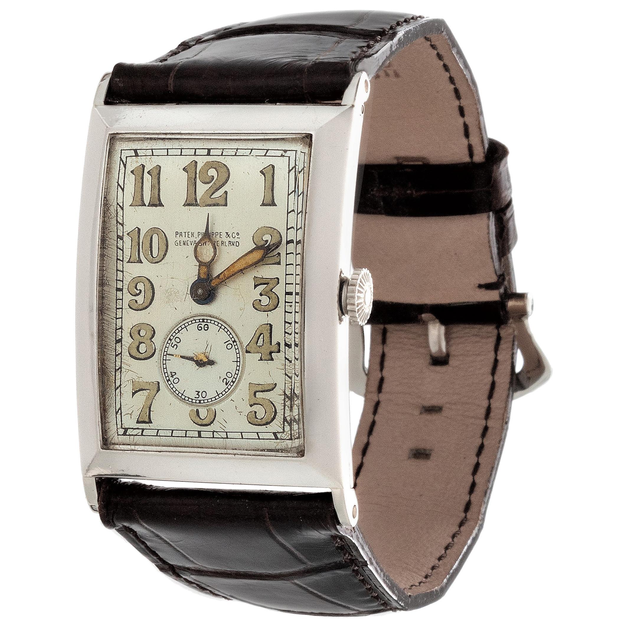 "Patek Philippe ""42"" Platinum Curved Hinged Case Art Deco Watch"