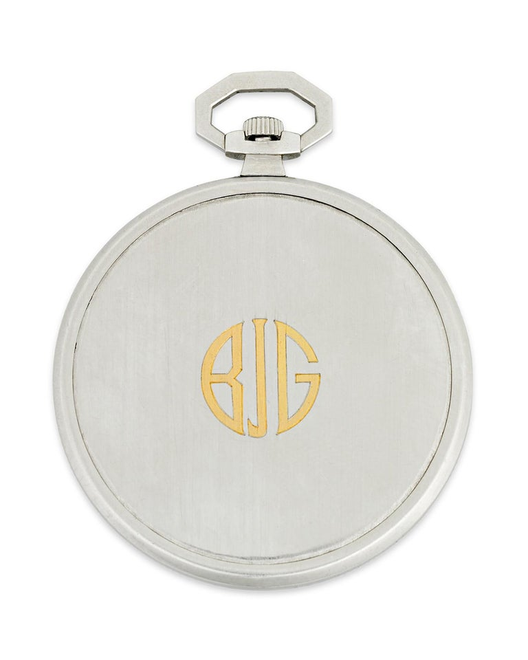 This classically handsome pocket watch was created by the great Swiss watchmaker Patek Philippe for the famed Tiffany & Co., combining the very best craftsmanship of both Europe and North America. The skillfully constructed inner workings of the