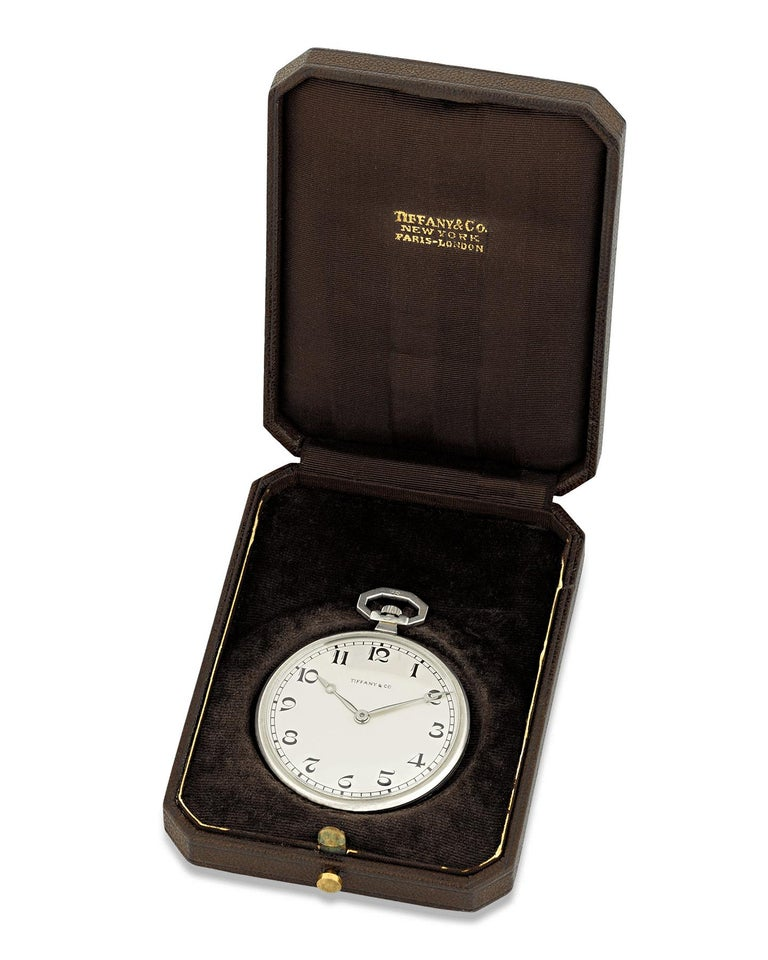 Patek Philippe Platinum Pocket Watch for Tiffany & Co In Excellent Condition For Sale In New Orleans, LA