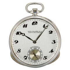Patek Philippe Pocket Watch Bassine Style Vintage 18 Karat White Gold