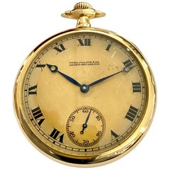 Patek Philippe Pocket Watch, Open Face, Bassine Style Yellow Gold 18 Karat, 1918