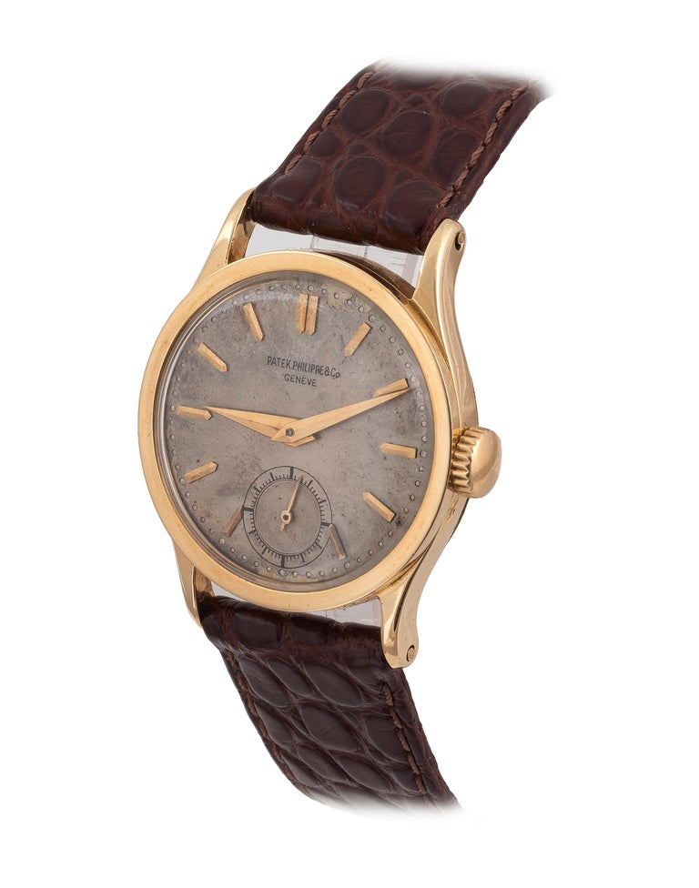 Very fine, manual winding 18K yellow gold wristwatch.Patek Philippe ModelCalatrava ReferenceRef. 96 Year1950 BraceletLeather NumbersMovement N. 966398, Case N.302715 Caliber12'120 Dimensions31 mm. SignatureDial, case and movement.