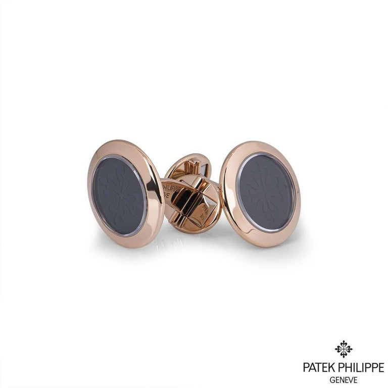 Patek Philippe Rose Gold Calatrava Cufflinks In Excellent Condition For Sale In London, GB