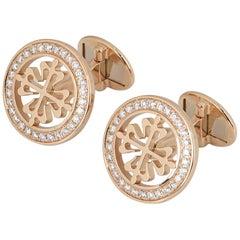 Patek Philippe Rose Gold Diamond Calatrava Cross Cufflinks