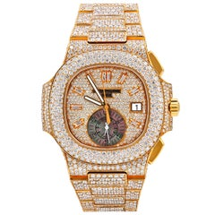 Patek Philippe Rose Gold Diamond Nautilus Automatic Wristwatch