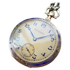 Patek Philippe Swiss 18k Gold Pocket Watch, circa 1920s with Box & Papers LV981