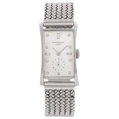 "Patek Philippe Tegola ""Hour Glass"" 1593 Platinum Silver Dial Manual Watch"