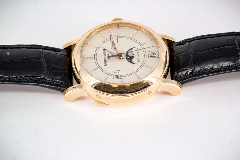 Men's Patek Philippe Tiffany & Co. Rose Gold T150 Moonphase Automatic Wristwatch For Sale