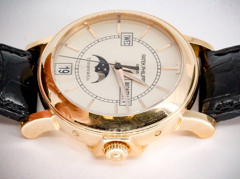 Patek Philippe Tiffany & Co. Rose Gold T150 Moonphase Automatic Wristwatch For Sale 1