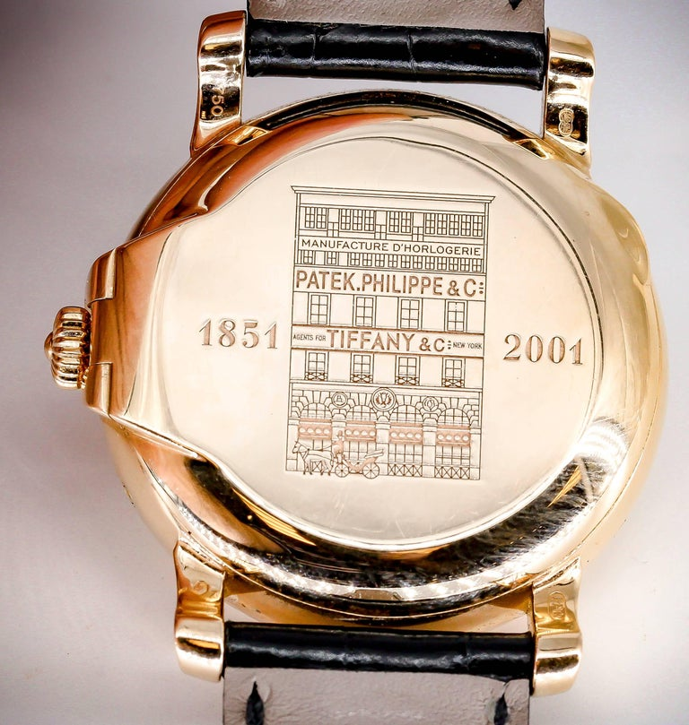 Patek Philippe Tiffany & Co. Rose Gold T150 Moonphase Automatic Wristwatch For Sale 2
