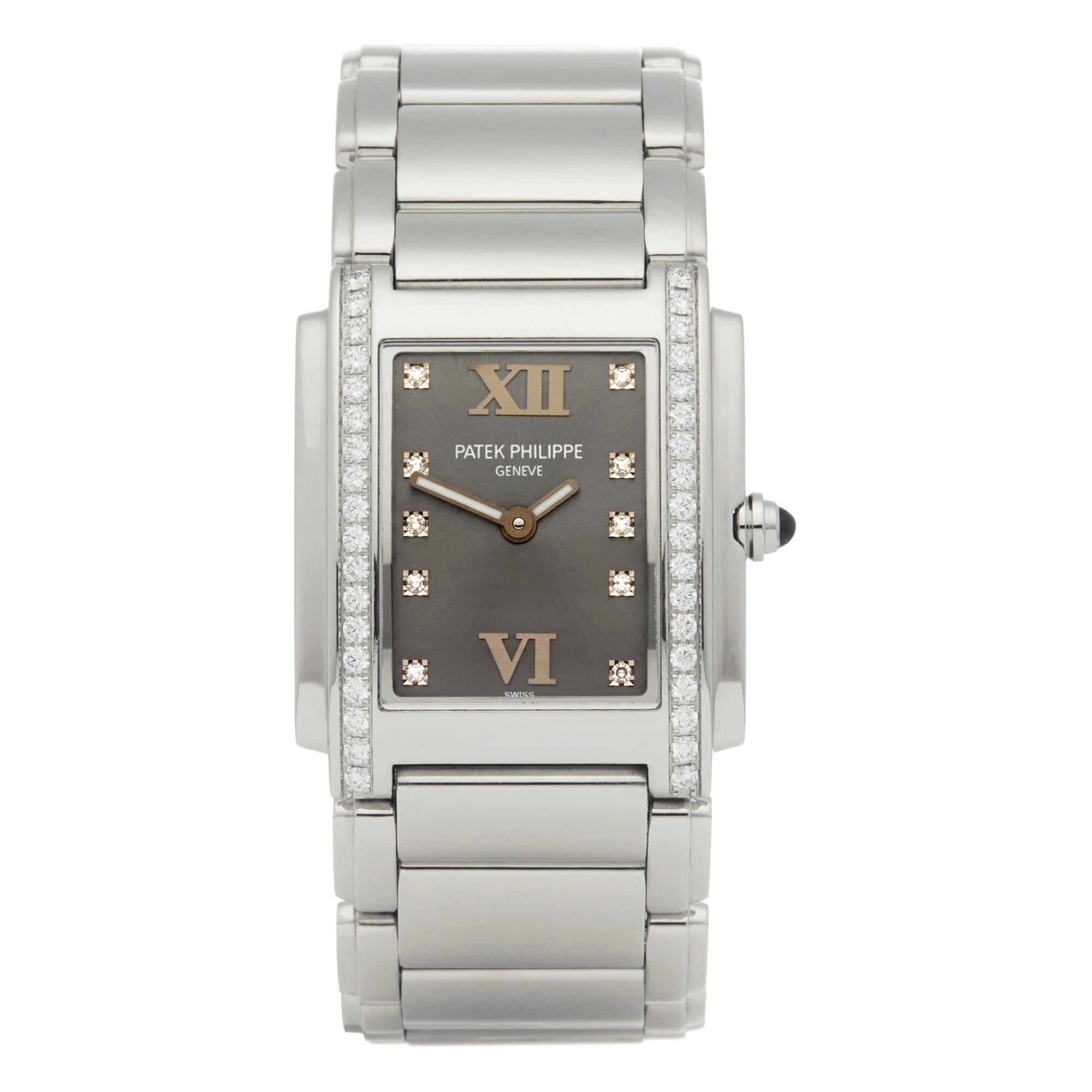 Patek Philippe Twenty-4 4910A Ladies Stainless Steel Diamond Watch