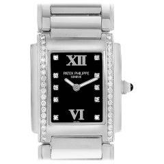 Patek Philippe Twenty-4 Black Diamond Dial Ladies Watch 4910 Papers