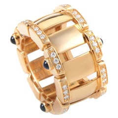 Patek Philippe Twenty-4 Blue Sapphire and Diamond 18 Karat Yellow Gold Band Ring