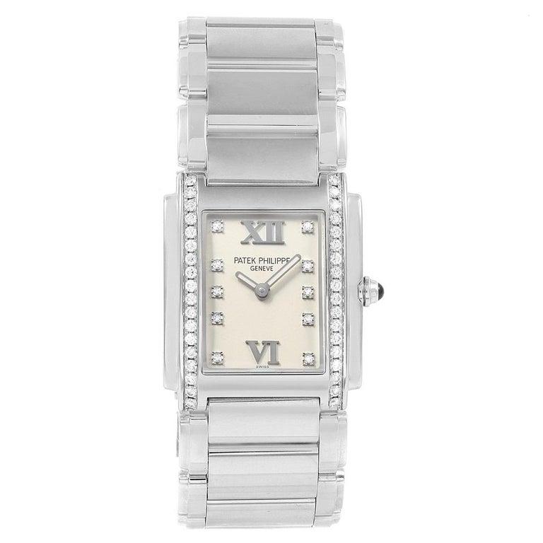 Patek Philippe Twenty-4 Diamond Ladies Quartz Watch 4910/10A-010 In Excellent Condition For Sale In Atlanta, GA