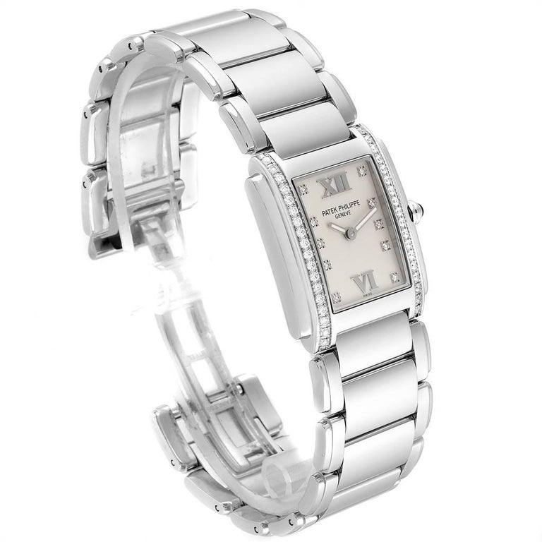 Patek Philippe Twenty-4 Diamond Ladies Quartz Watch 4910/10A-010 In Excellent Condition For Sale In Atlanta, GA