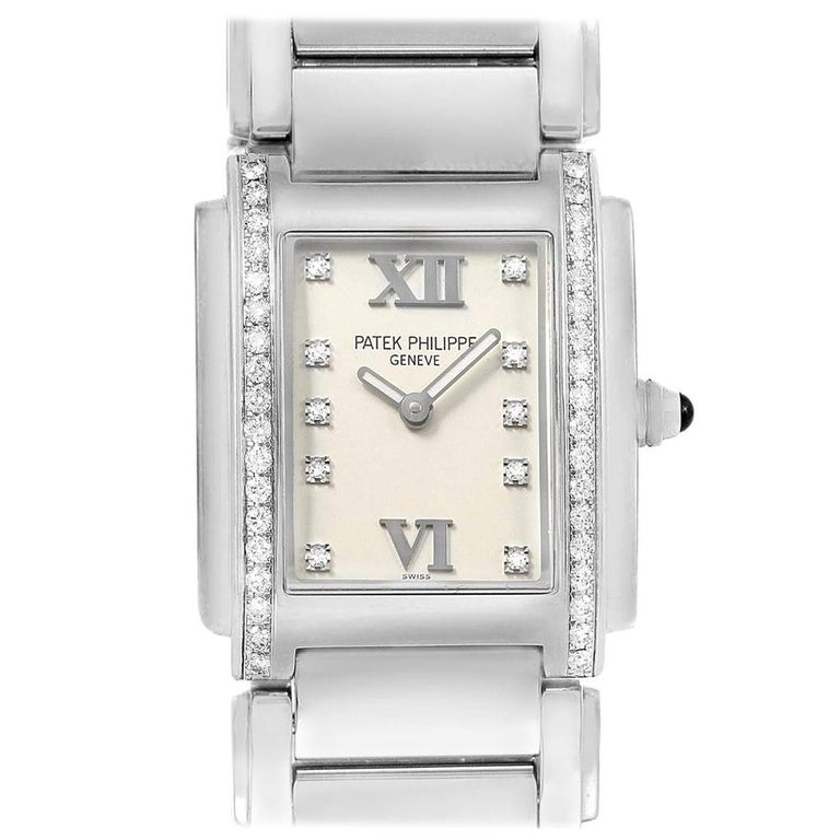 Patek Philippe Twenty-4 Diamond Ladies Quartz Watch 4910/10A-010 For Sale