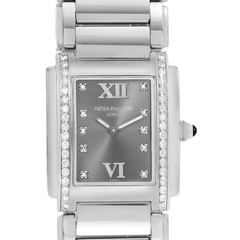 Patek Philippe Twenty-4 Grey Diamond Dial Steel Ladies Watch 4910. Quartz movement. Stainless steel case 25.0 x 30.0 mm. Onyx set crown. Original Patek factory 38 diamond bezel. Scratch resistant sapphire crystal. Eternal gray dial with original