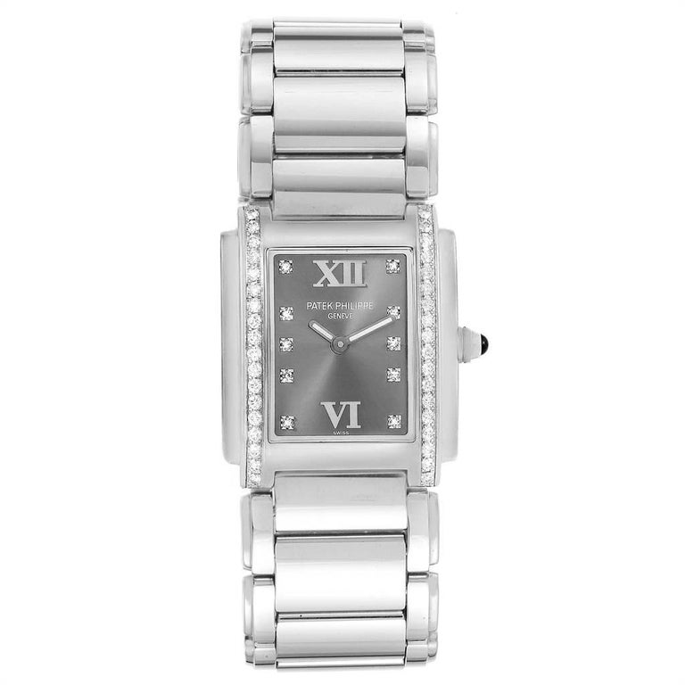 Patek Philippe Twenty-4 Grey Diamond Dial Steel Ladies Watch 4910 In Excellent Condition For Sale In Atlanta, GA