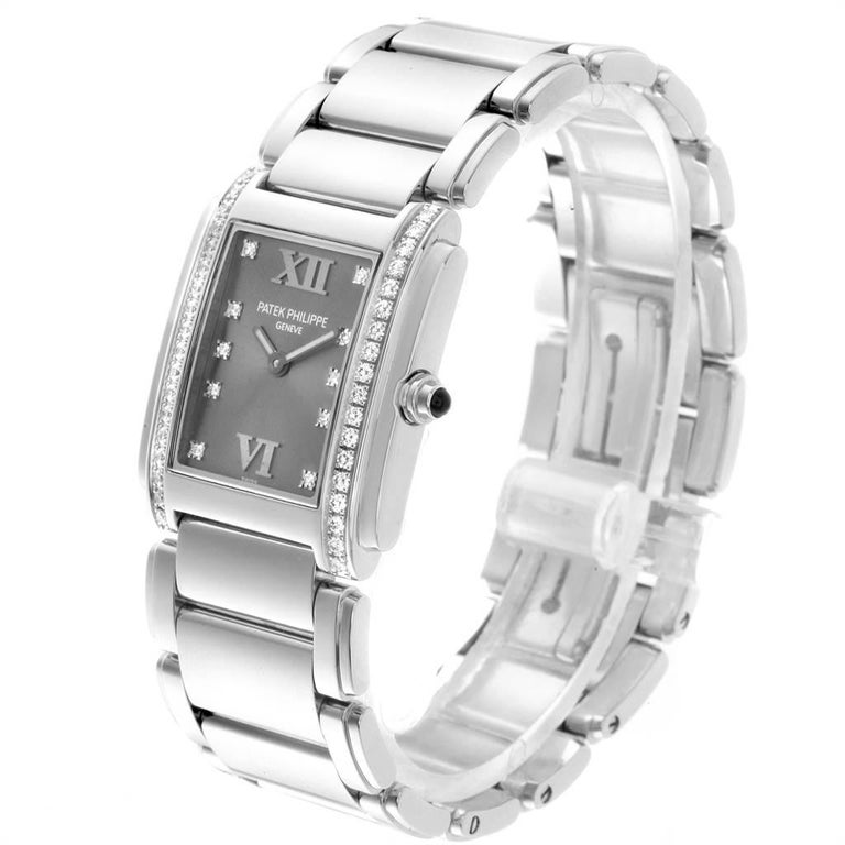 Women's Patek Philippe Twenty-4 Grey Diamond Dial Steel Ladies Watch 4910 For Sale