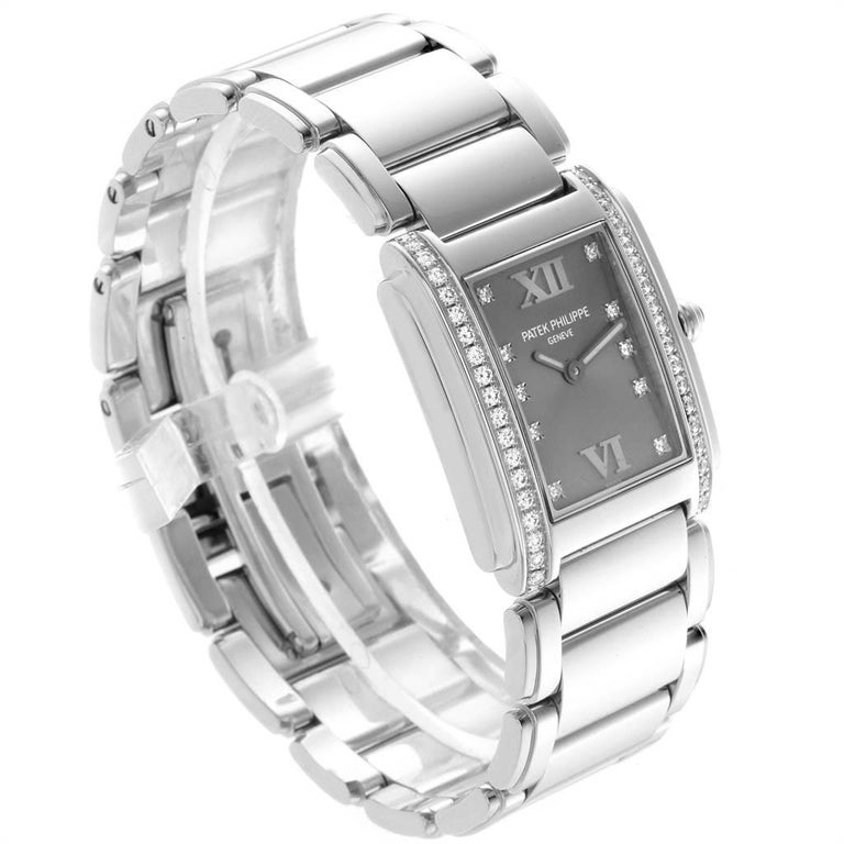 Patek Philippe Twenty-4 Grey Diamond Dial Steel Ladies Watch 4910 For Sale 1