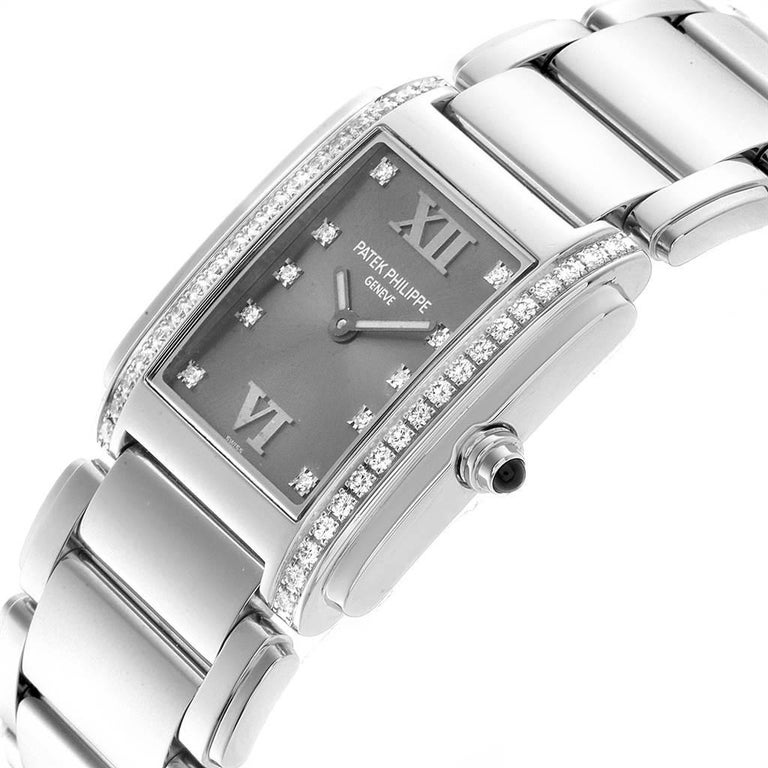Patek Philippe Twenty-4 Grey Diamond Dial Steel Ladies Watch 4910 For Sale 2