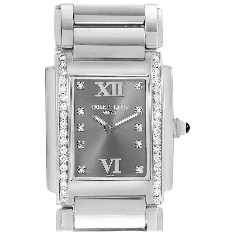 Patek Philippe Twenty-4 Grey Diamond Dial Steel Ladies Watch 4910 For Sale