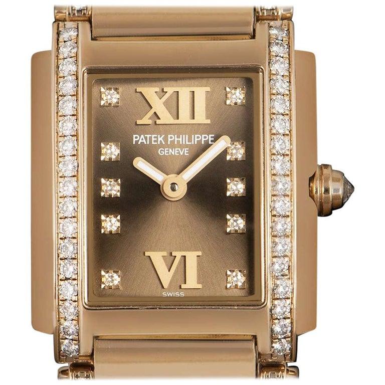 33ce09e077b Patek Philippe Twenty-4 Ladies Rose Gold Brown Dial 4908 30R Automatic Watch  at 1stdibs