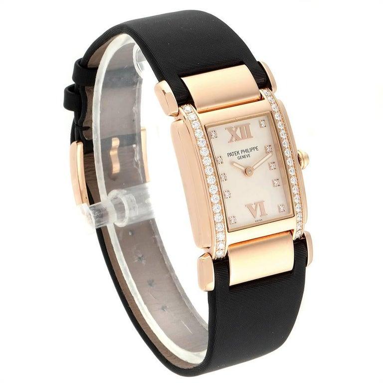 Patek Philippe Twenty-4 Rose Gold Black Strap Diamond Ladies Watch 4920R In Excellent Condition For Sale In Atlanta, GA