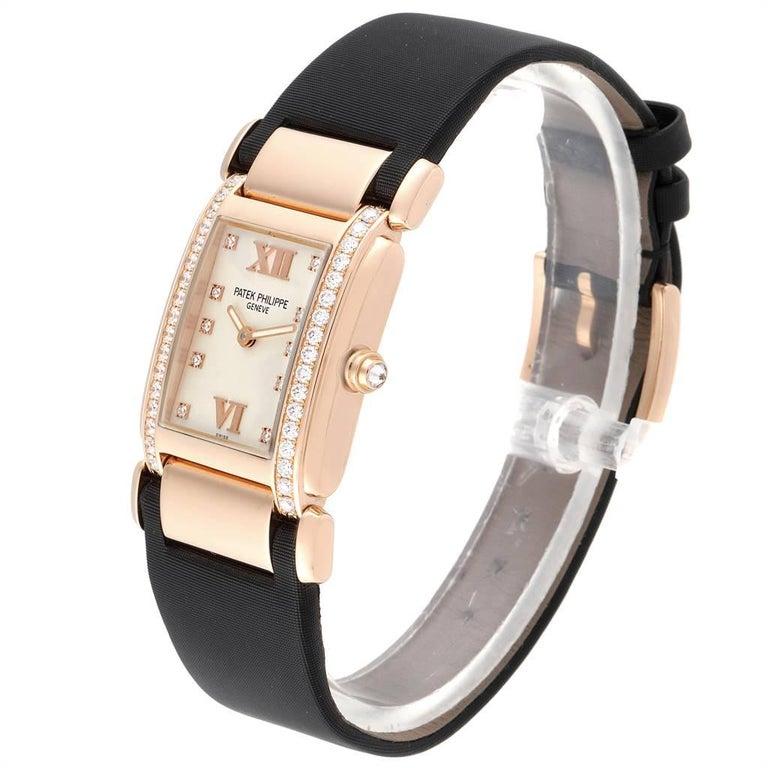 Women's Patek Philippe Twenty-4 Rose Gold Black Strap Diamond Ladies Watch 4920R