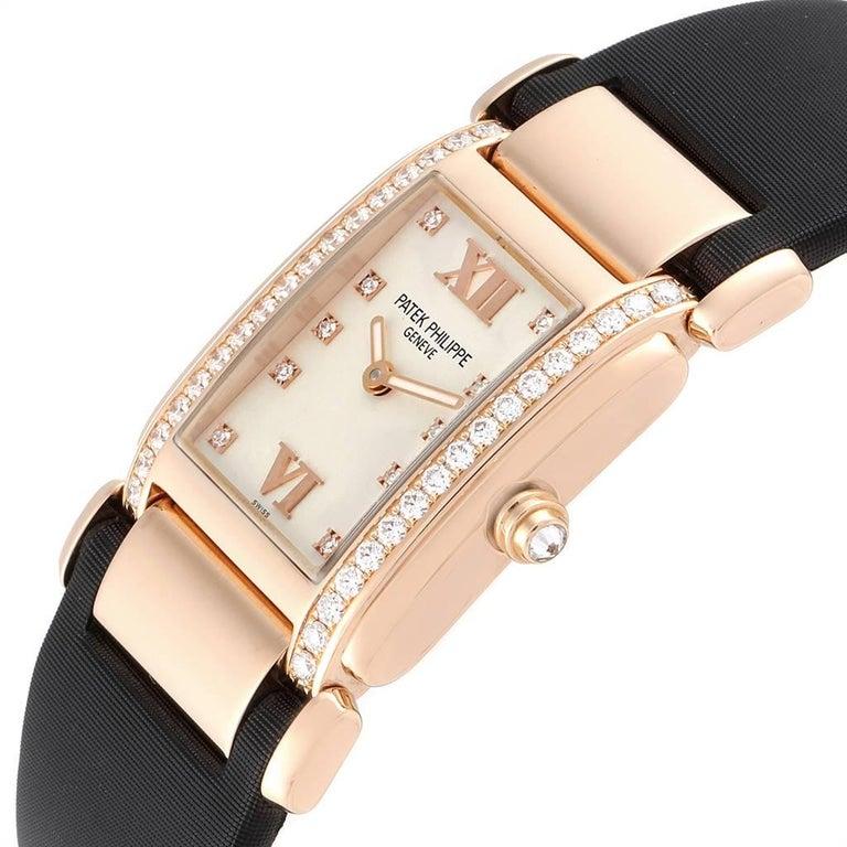 Patek Philippe Twenty-4 Rose Gold Black Strap Diamond Ladies Watch 4920R For Sale 1