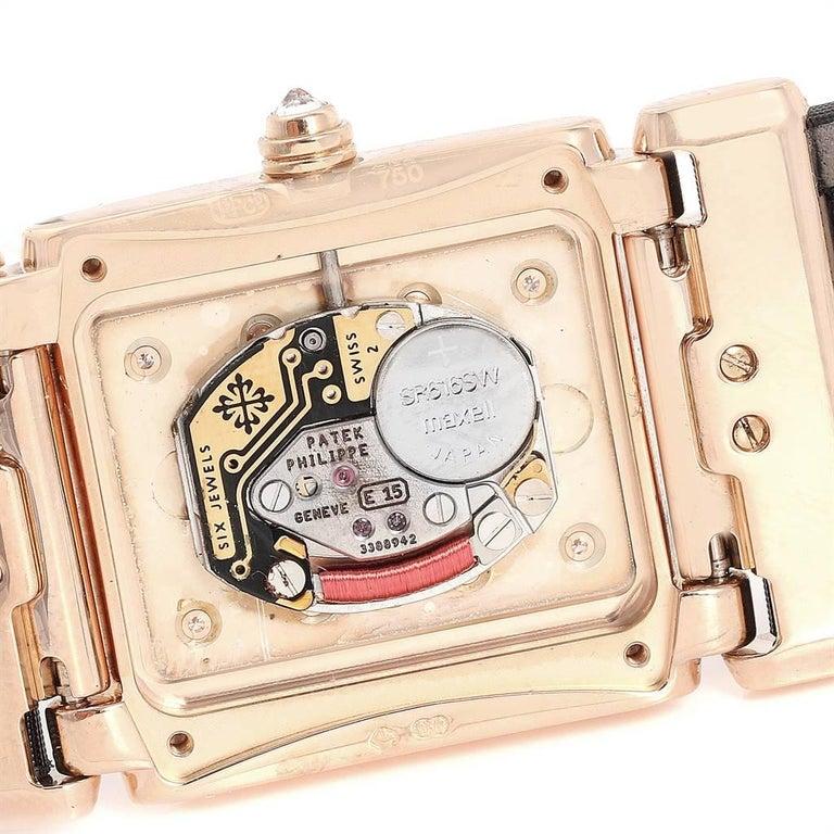 Patek Philippe Twenty-4 Rose Gold Black Strap Diamond Ladies Watch 4920R For Sale 3