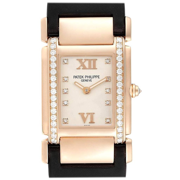 Patek Philippe Twenty-4 Rose Gold Black Strap Diamond Ladies Watch 4920R For Sale