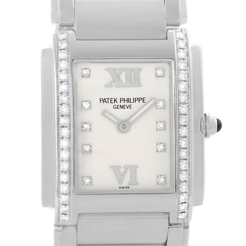 50aca4b931e Patek Philippe Twenty-4 Silver Diamond Dial Ladies Watch 4910 Box Papers  For Sale at 1stdibs