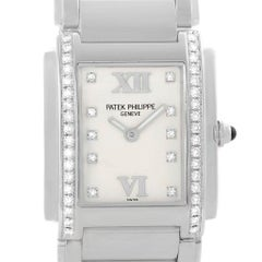 Patek Philippe Twenty-4 Silver Diamond Dial Ladies Watch 4910 Box Papers