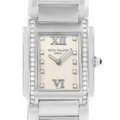 Patek Philippe Twenty-4 Silver Diamond Dial Ladies Watch 4910 Box Papers