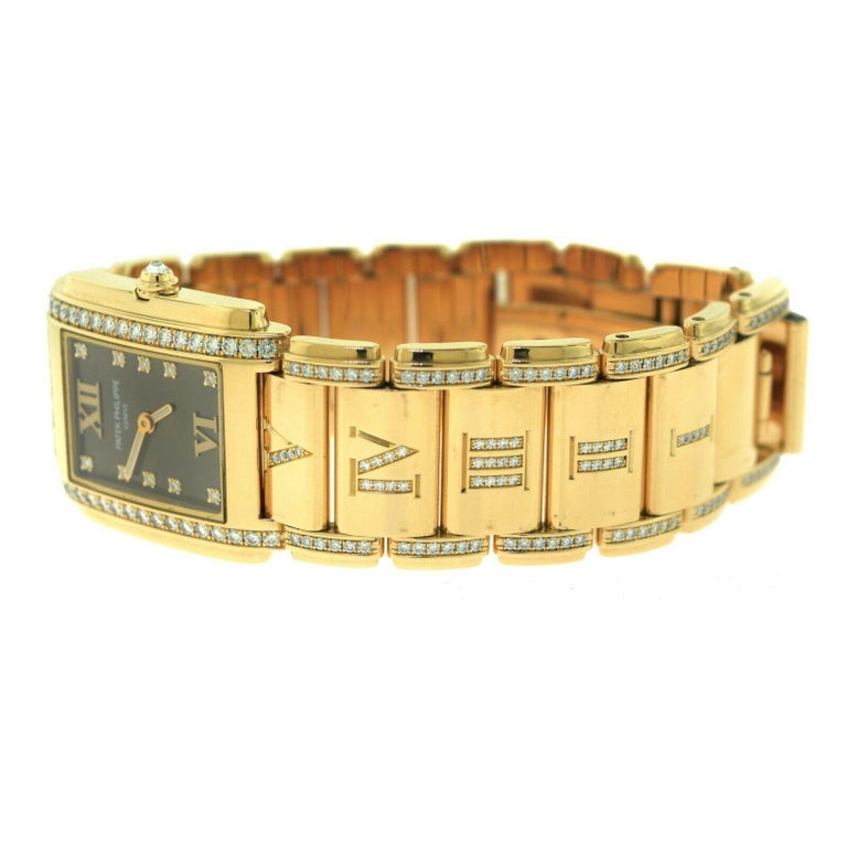 Patek Philippe Twenty 4 4910/40R Rose Gold Diamond Rectangle Watch In Excellent Condition For Sale In Miami, FL