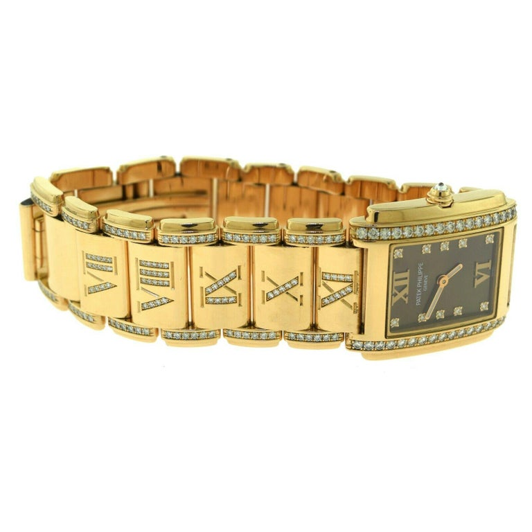 Women's or Men's Patek Philippe Twenty 4 4910/40R Rose Gold Diamond Rectangle Watch For Sale
