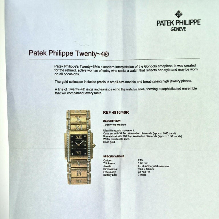 Patek Philippe Twenty 4 4910/40R Rose Gold Diamond Rectangle Watch For Sale 1