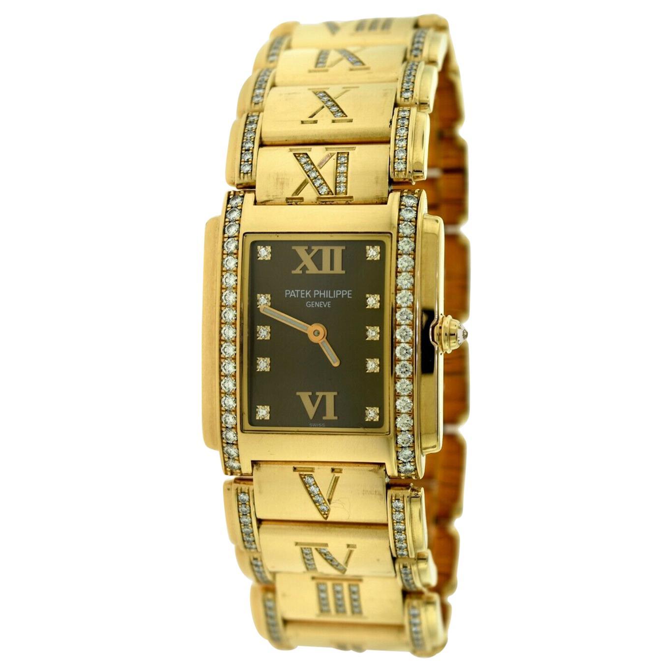 Patek Philippe Twenty 4 4910/40R Rose Gold Diamond Rectangle Watch