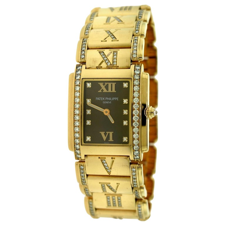 Patek Philippe Twenty 4 4910/40R Rose Gold Diamond Rectangle Watch For Sale