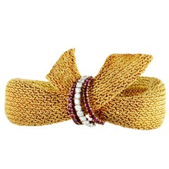 Patek Philippe Vintage Diamond and Ruby Yellow and White Gold Mesh Bracelet